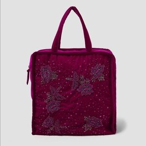ZARA Special Edition Embroidered Velvet Tote